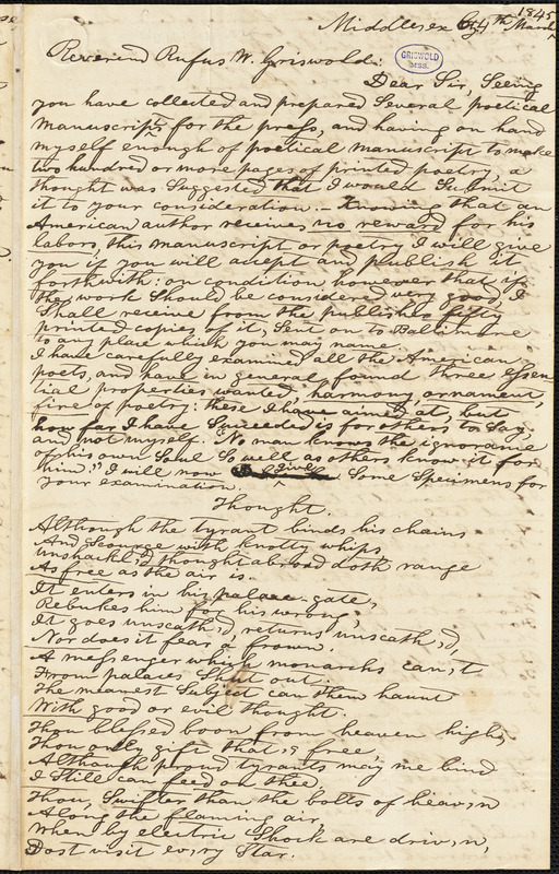 Edward Southern, Jamaica, VA., autograph letter signed to R. W. Griswold, 4 March 1845