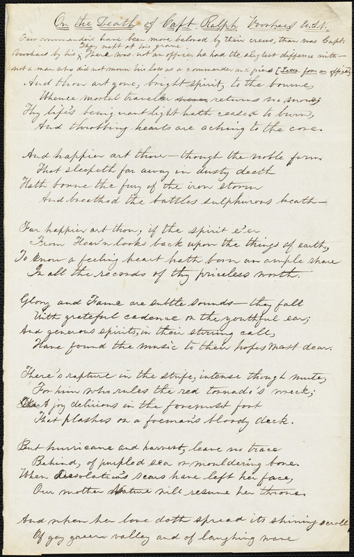 "F. J. Speer manuscript poem: ""On the Death of Capt. Ralph Voorhees, U.S.N."""