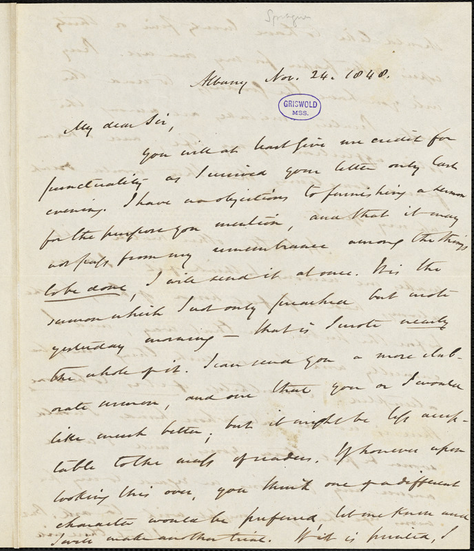 William Buell Sprague, Albany, (NY), autograph letter signed to R. W. Griswold, 24 November 1848