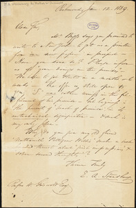 E. A. Stansbury, Richmond, VT., autograph letter signed to R. W. Griswold, 12 January 1839