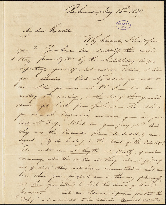 E. A. Stansbury, Richmond, VT., autograph letter signed to R. W. Griswold, 15 May 1839