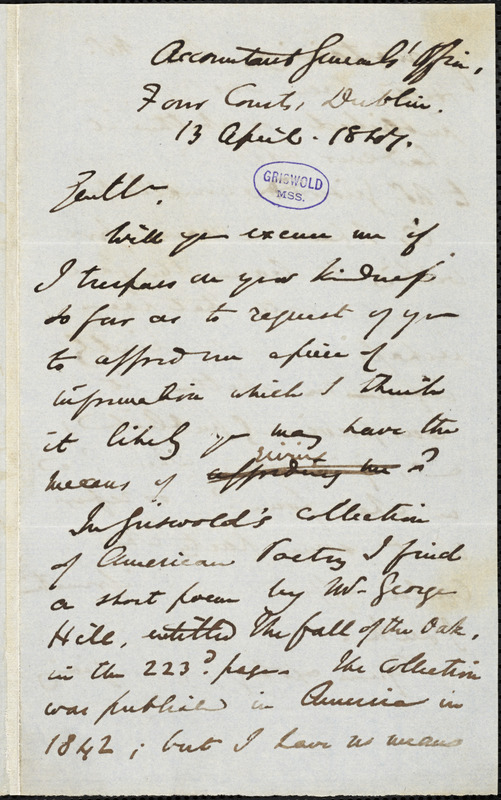 Digby P. Starkey, Dublin, (Ireland), autograph letter signed to Wiley and Putnam, 13 April 1847