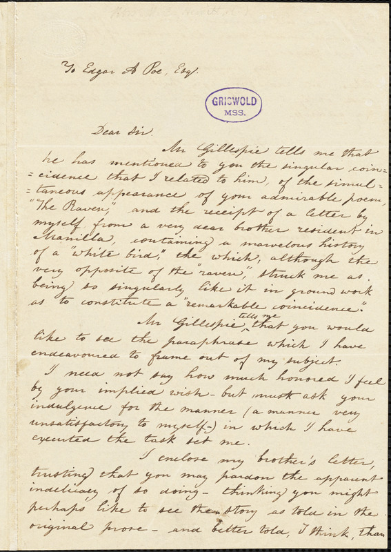 Mary Elizabeth (Moore) Hewitt Stebbins, Athenaeum Hotel (NY), autograph letter signed to Edgar A. Poe, 15 March 1845