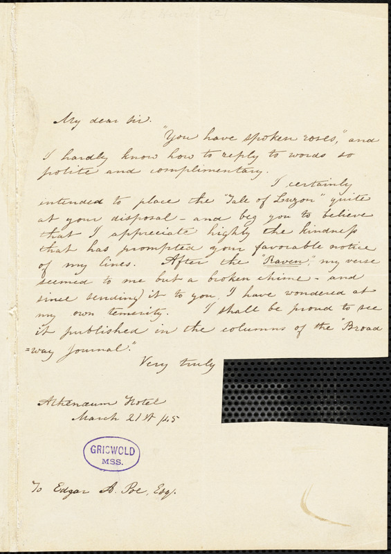 Mary Elizabeth (Moore) Hewitt Stebbins, Athenaeum Hotel (NY), autograph letter signed to Edgar A. Poe, 21 March 1845
