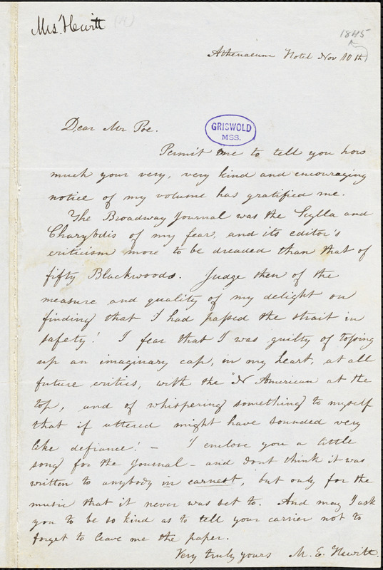 Mary Elizabeth (Moore) Hewitt Stebbins, Athenaeum Hotel (NY), autograph letter signed to Edgar A. Poe, 10 November [1845?]