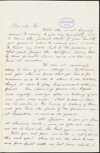 Mary Elizabeth (Moore) Hewitt Stebbins, Athenaeum Hotel (NY), autograph letter signed to Mrs. Frances Sargent (Locke) Osgood, 14 April 1846