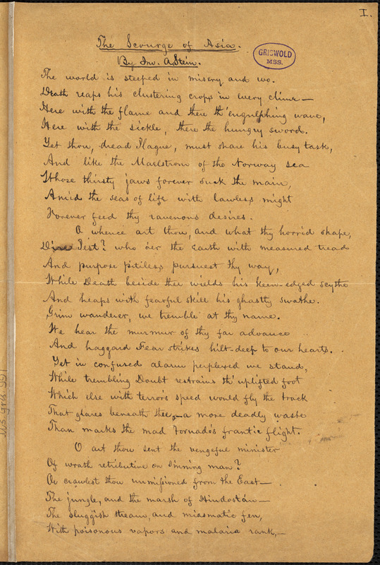 """John Andrew Stein manuscript poem: """"The Scourge of Asia."""""""