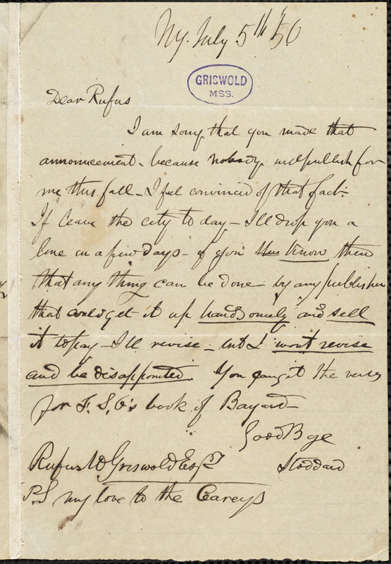 Richard Henry Stoddard, New York, autograph note signed to R. W. Griswold, 5 July 1850