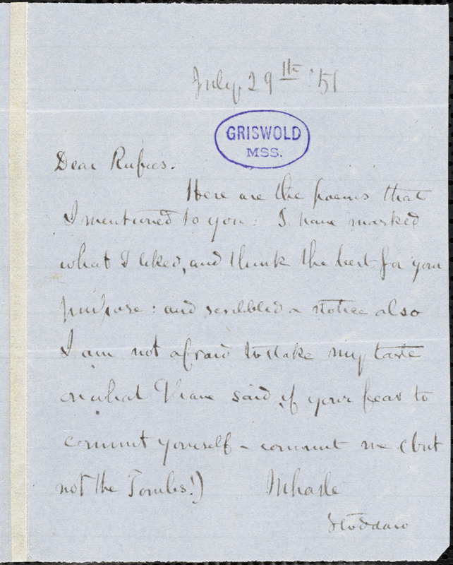 Richard Henry Stoddard autograph note signed to R. W. Griswold, 29 July 1856