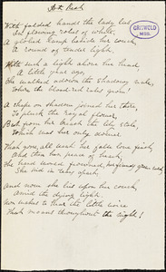 """Richard Henry Stoddard manuscript poems: """"At Rest,"""" """"At the Window,"""" """"The Helmet,"""" """"I sympathize with all your grief,"""" """"In a volume of early verses,"""" """"Invocation to sleep,"""" """"Roses and thorns,"""" """"Summer,"""" and """"There are gains for all our losses."""""""