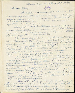 William Leete Stone, New York, autograph letter signed to R. W. Griswold, 19 April 1841