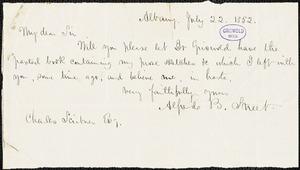 Alfred Billings Street, Albany, (NY), autograph letter signed to Charles Scribner, 22 July 1852