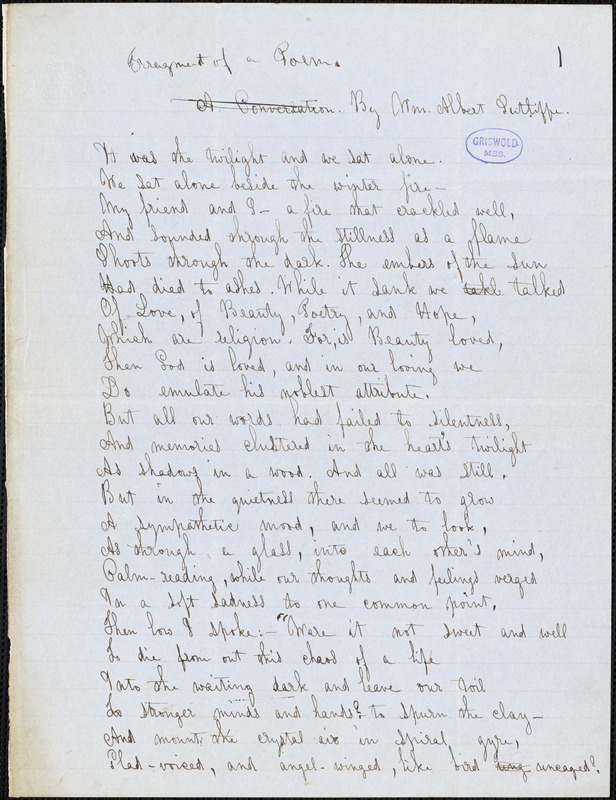 William Albert Sutliffe manuscript poem fragment