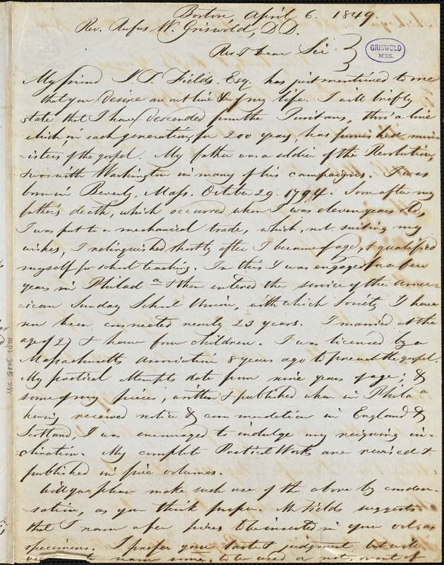 William Bingham Tappan, Boston, MA., autograph letter signed to R. W. Griswold, 6 April 1849