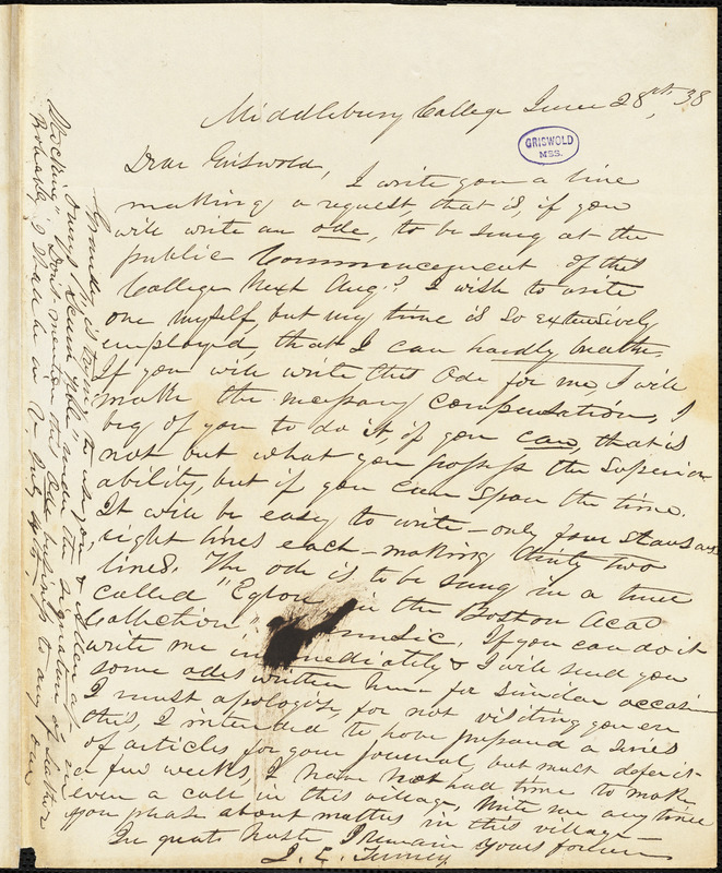 J. E. Tenney, Middlebury College, (VT), autograph letter signed to R. W. Griswold, 28 June 1838