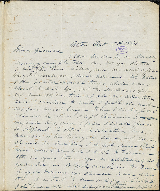 A. G. Tenney, Boston, MA., autograph letter signed to R. W. Griswold, 15 September 1841