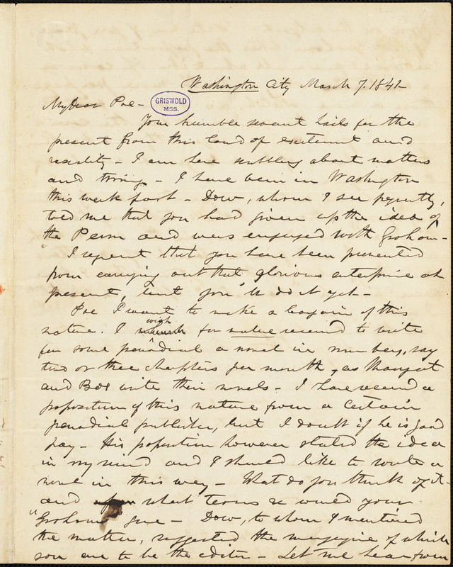 Frederick William Thomas, Washington City (DC), autograph letter signed to Edgar Allan Poe, 7 March 1841