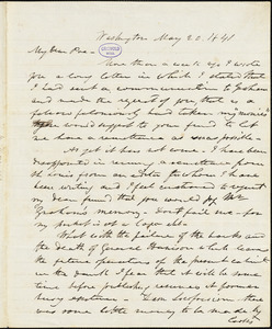 Frederick William Thomas, Washington, DC., autograph letter signed to Edgar Allan Poe, 20 May 1841