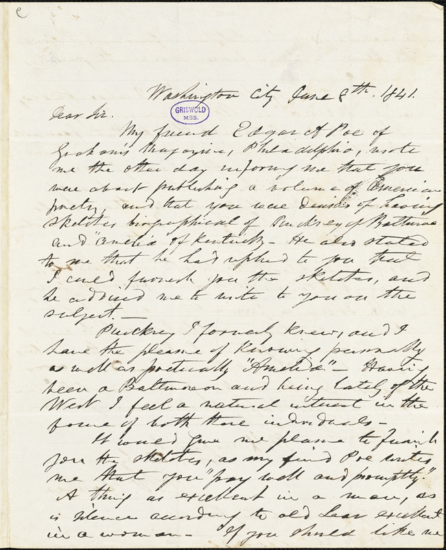 Frederick William Thomas, Washington, DC., autograph letter signed to R. W. Griswold, 8 June 1841