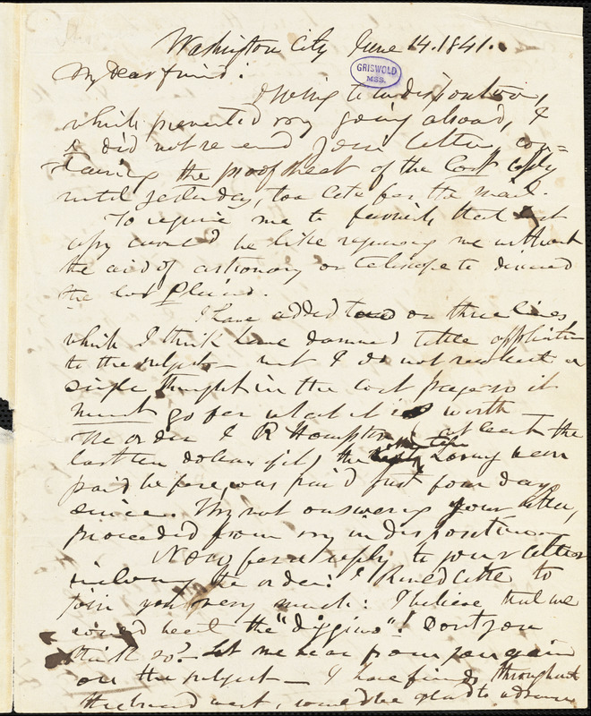 Frederick William Thomas, Washington, DC., autograph letter signed to Edgar Allan Poe, 14 June 1841