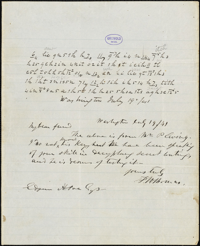 Frederick William Thomas, Washington, DC., autograph letter signed to Edgar Allan Poe, 19 July 1841