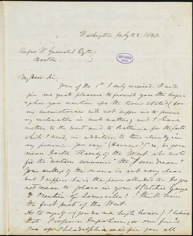 Frederick William Thomas, Washington, D.C., autograph letter signed to R. W. Griswold, 28 July 1841