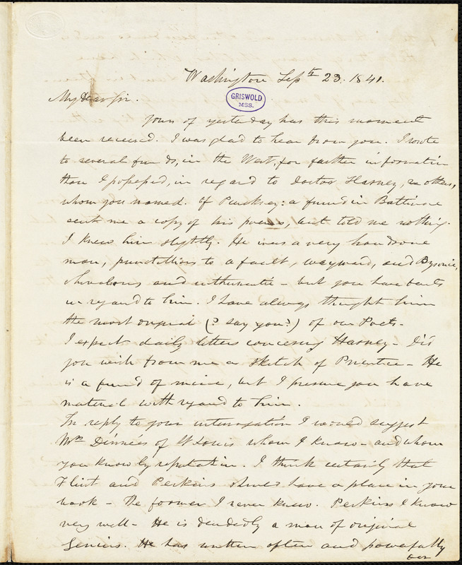 Frederick William Thomas, Washington, D.C., autograph letter signed to R. W. Griswold, 23 September 1841
