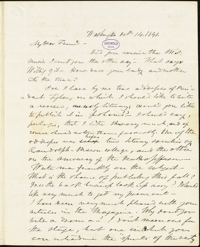 Frederick William Thomas, Washington, DC., autograph letter signed to Edgar Allan Poe, 14 October 1841