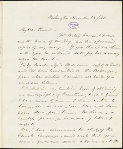Frederick William Thomas, Washington, DC., autograph letter signed to Edgar Allan Poe, 23 November 1841