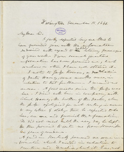 Frederick William Thomas, Washington, DC., autograph letter signed to R. W. Griswold, 15 December 1841