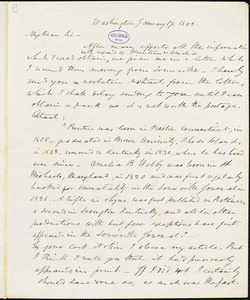 Frederick William Thomas, Washington, DC., autograph letter signed to R. W. Griswold, 17 January 1842