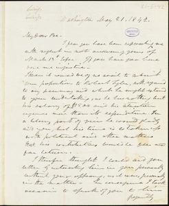 Frederick William Thomas, Washington, DC., autograph letter signed to Edgar Allan Poe, 21 May 1842