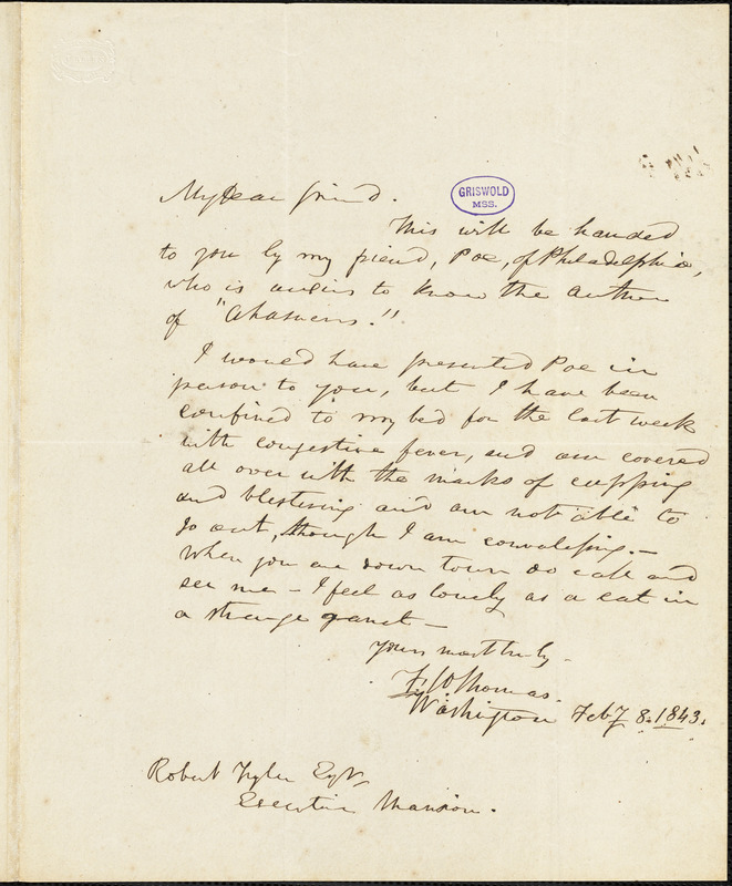 Frederick William Thomas, Washington, DC., autograph letter signed to Robert Tyler, 1 February 1843