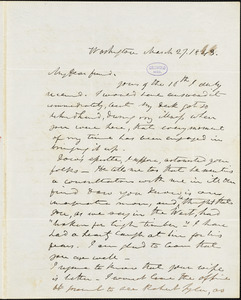 Frederick William Thomas, Washington, DC., autograph letter signed to Edgar Allan Poe, 27 March 1843