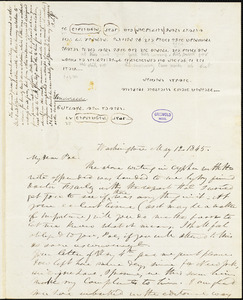 Frederick William Thomas, Washington, DC., autograph letter signed to Edgar Allan Poe, 12 May 1845