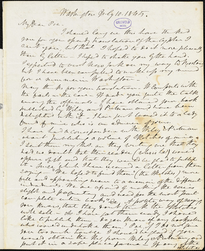 Frederick William Thomas, Washington, DC., autograph letter signed to Edgar Allan Poe, 10 July 1845