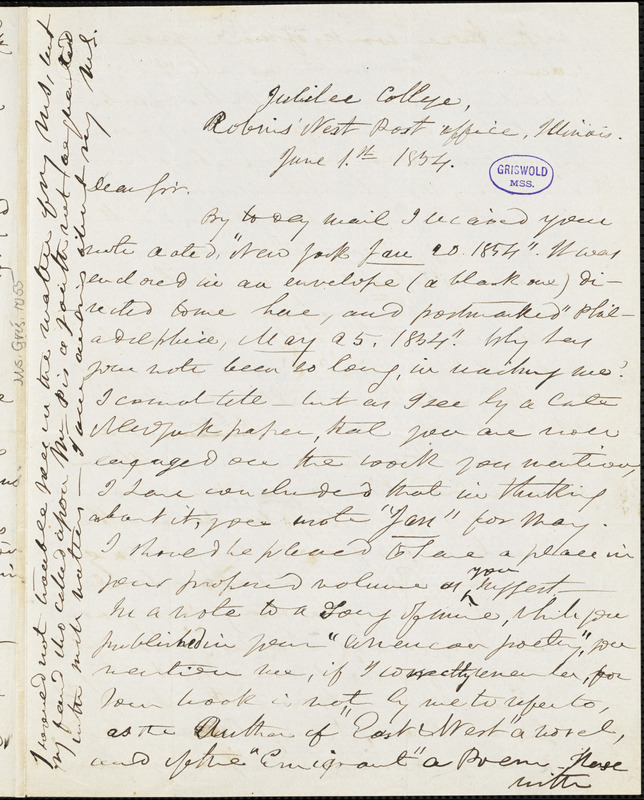 Frederick William Thomas, Jubilee College, Robin's Nest Post-office, IL., autograph letter signed to R. W. Griswold, 1 June 1854