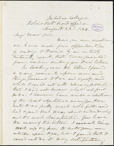 Frederick William Thomas, Jubilee College, Robin's Nest Post-office, IL., autograph letter signed to R. W. Griswold, 22 August 1854