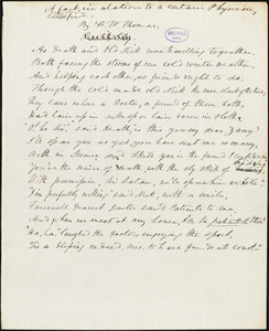 """Frederick William Thomas manuscript poem: """"A Fact in Relation to a Certain Physician, Versified."""""""