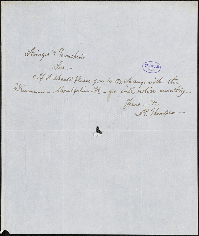 Daniel Pierce Thompson, [Montpelier, VT.?], autograph note signed to Stringer and Townsend