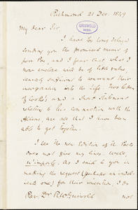 John Reuben Thompson, Richmond, VA., autograph letter signed to R. W. Griswold, 21 December 1849