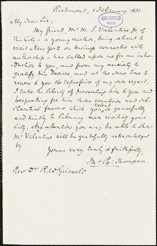 John Reuben Thompson, Richmond, VA., autograph letter signed to R. W. Griswold, 1 February 1851