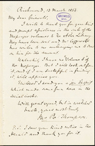 Frederick William Thomas, Richmond, VA., to R. W. Griswold, 13 March 1854