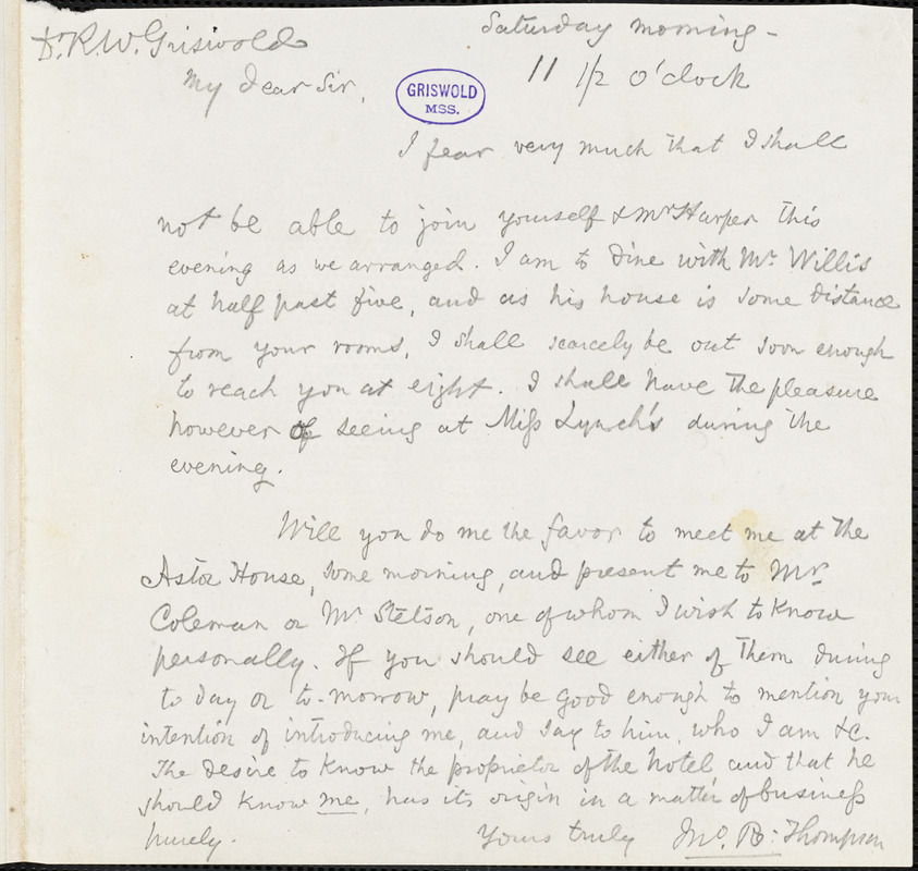 John Reuben Thompson, Saturday morning., autograph letter signed to R. W. Griswold