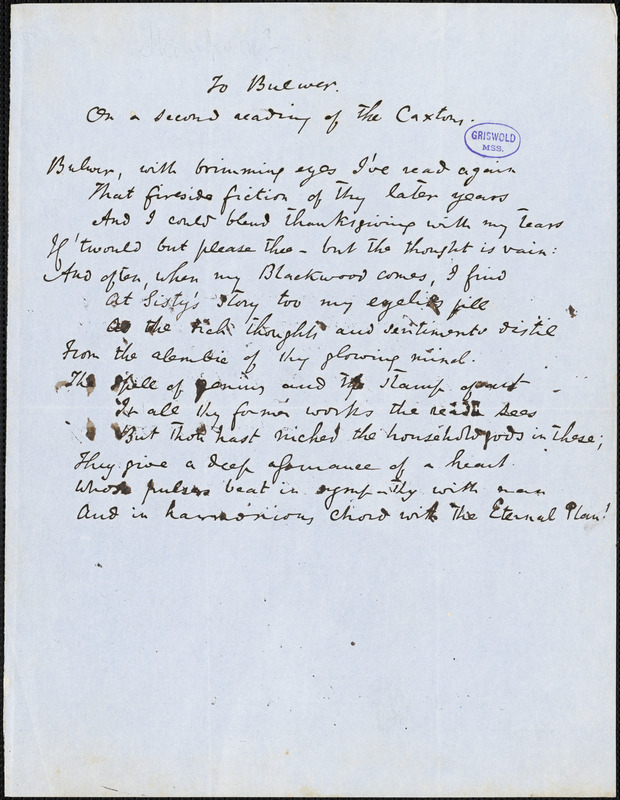 """John Reuben Thompson manuscript poem, [after 1850]: """"To Bulwer. On a Second Reading of 'The Caxtons.'"""""""