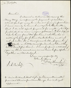 Charles West Thomson autograph letter signed to Edgar Allan Poe, 1 May 1841