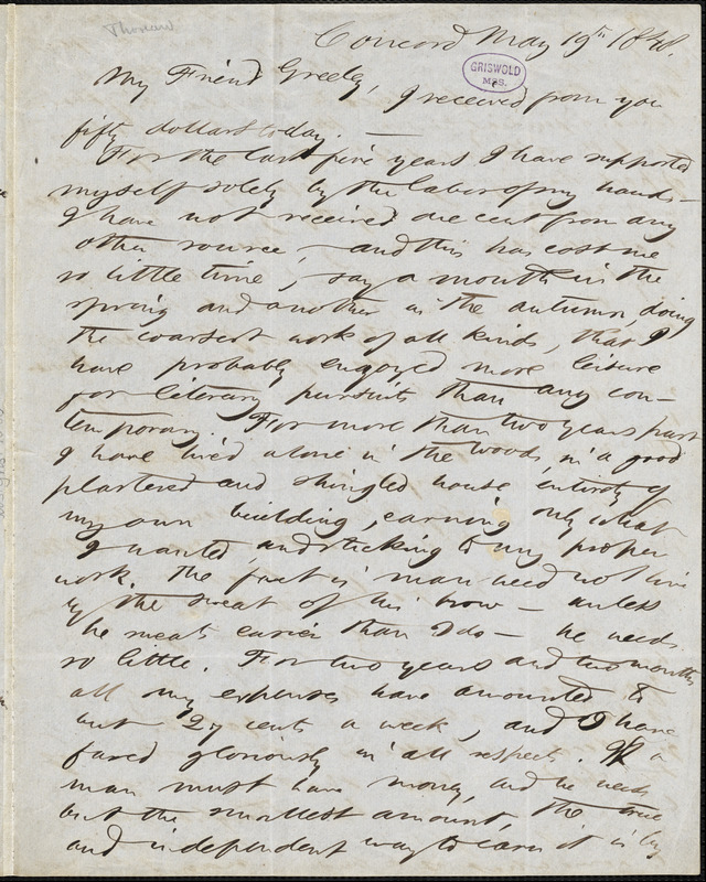 Henry David Thoreau, Concord, MA., autograph letter signed to Horace Greeley, 19 May 1848