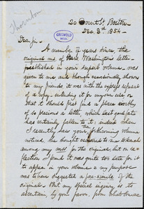 John Wingate Thornton, 20 Court St., Boston, MA., autograph letter signed to R. W. Griswold, 8 December 1854