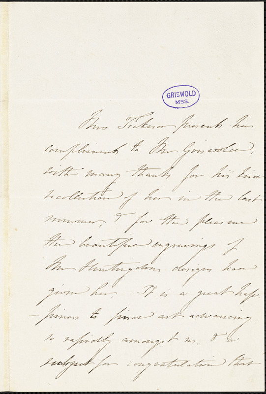Mrs. Anna (Eliot) Ticknor, Park St., Boston, MA., autograph letter signed to R. W. Griswold, 13 December