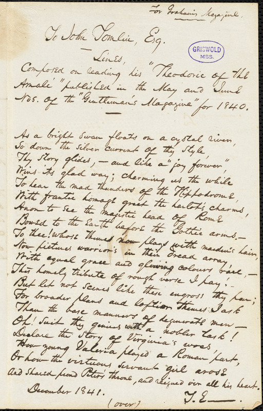 John Tomlin, Jackson, TN., autograph letter signed to Edgar Allan Poe, 12 October 1841